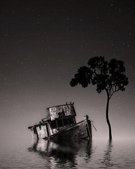 Night Sky, Star, Night, Dusk, Sea, Water, Reflection