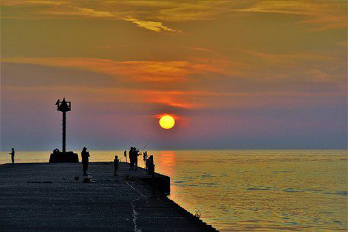 Sunset, On Lake, Fishing Pier, Colorful, Colorful Sky