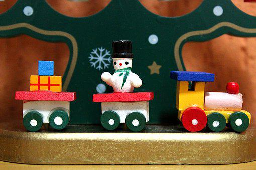 Christmas, Trenzinho, Snowman, Decoration, Train