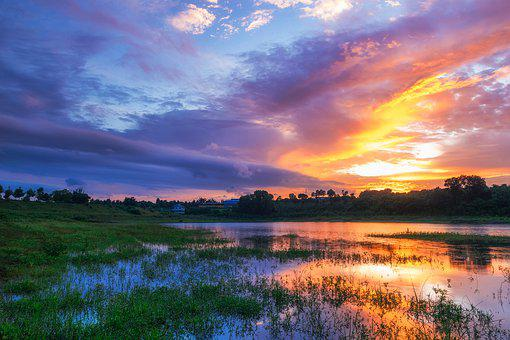 Sunset, Landscapes, Twilight, Afternoon, Lake, Sky