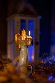 Angel, Lantern, Light, Candle, Night, Mood, Dark, Straw