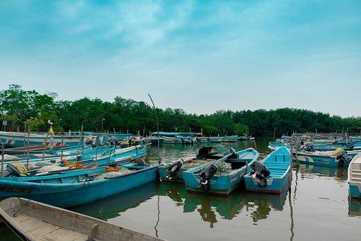 Boat, Fish, Fishing, Sea, Hualtaco, Sky, Clouds