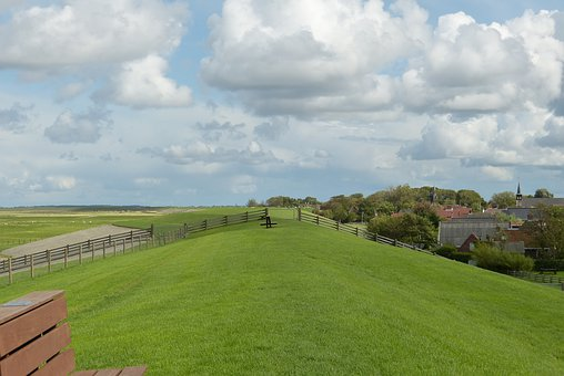 Dike, North Sea, Holland, Village, Grass, Idyll