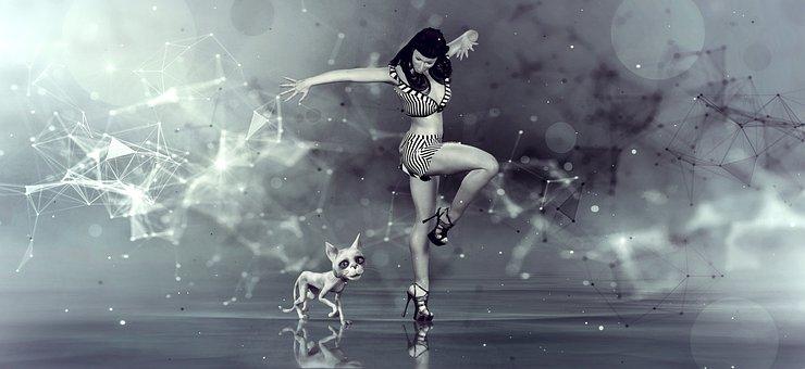 Dance, Woman, Cat, Reflections, Elegant, Female