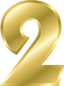 Number, 2, Alphabet, Abc, Gold, Gradient