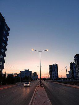 Sky, Lights, Sunset, Sunrise, Way, Car, Afternoon