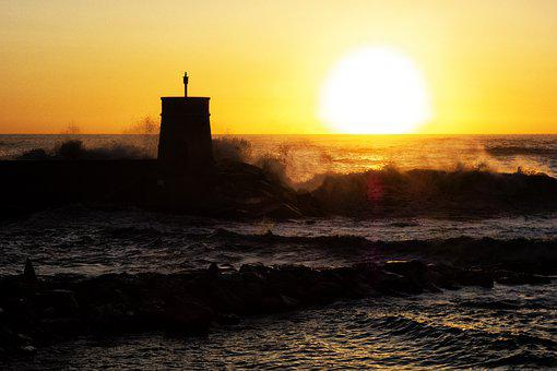 Recco, Liguria, Sunset, Sea Storm, Italy, Landscape