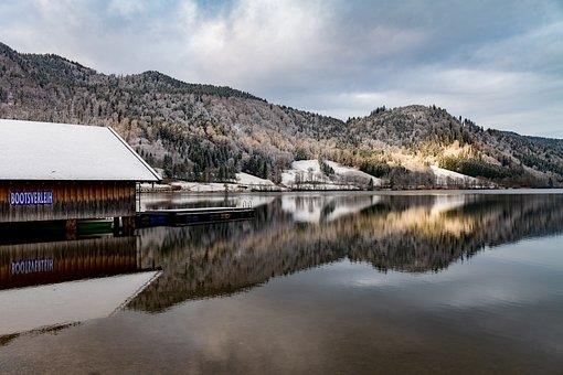 Schliersee, Lake, Mirroring, Bavaria, Winter, Mood