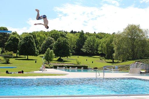 Outdoor Pool, Jump, Plunge, Swimming Pool, Leisure, Fun