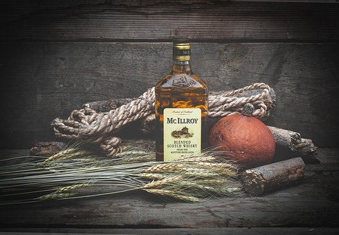 Whiskey, Bottle, Pumpkin, Grain, Ropes, Wood