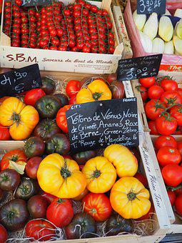 Market, France, Provence, Tomatoes, Red, Yellow