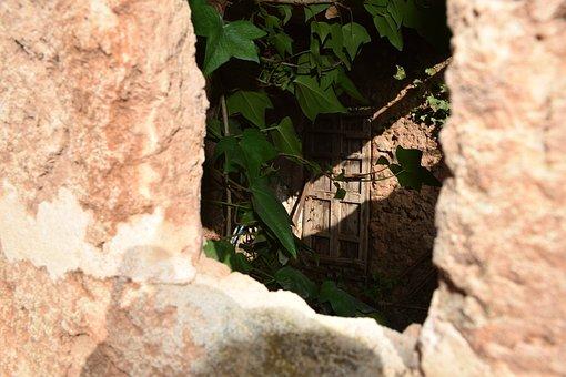 Hole, Stone, Window, Door, Light, Shadow, Shade