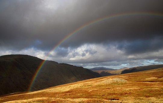 Rainbow, Lake District, England, Scenery, Hills