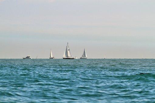 Sailboats, Racing, Sailing, Large Lake, Sea, Water