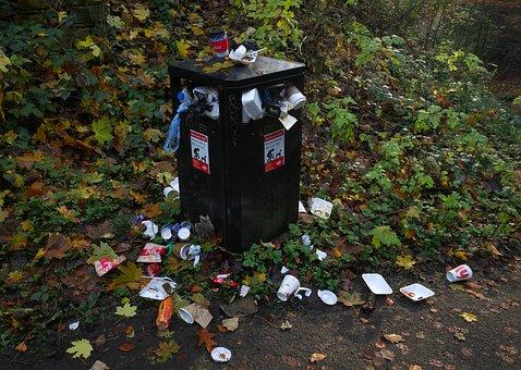 Bin, Overflowing, Rubbish, Garbage, Trash, Waste