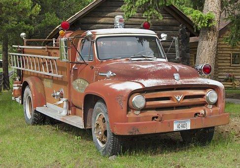 Fire Engine, Vintage, Red, Firetruck, Usa, Montana