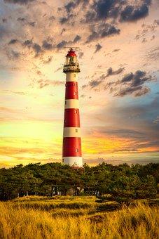 Lighthouse, Sky, Sea, Water, Landscape, Beach, Sunset