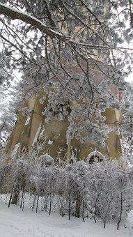 Winter, Park, Tree, Snow, Architecture