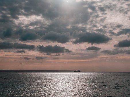 Sea, Cargo Boat, Costa, Landscape, Clouds, Reflection