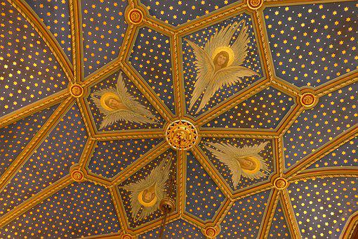 Fresco, Ceiling, Painting, Angel, Heaven, Religion