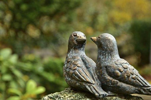 Sparrows, Birds, Figures, Bronze, Grabschmuck