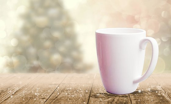 Mug, Wood, Christmas Tree, In The Morning, Illustration
