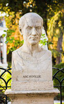 Archimedes, Rome, Italy, Europe, Statue, Portrait