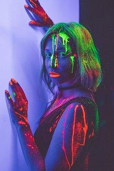 Neon, Neon Makeup, Neon Body Painting, Glowing Makeup