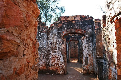 Interior Of Old Ruined Fort, Architecture, Complex, Old