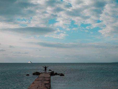 Person, Sea, Enjoying, Wind, Peaceful, Peace, Holiday