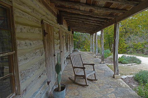 Perspective, Covered Porch, Rocking Chair, Stone Floor