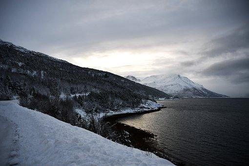 Landscape, Mountain, Sea, Coast, Winter, Cold, Snow