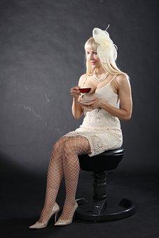 Girl, Model, Tea, Portrait, Woman, Cup, White, Hair