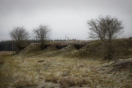 Bunker, War, Landscape, Nature, Tree, Cold, Mood