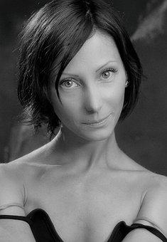Girl, Studio, Monochrome, Woman, Profile, Retro