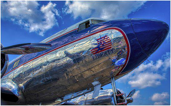 Blue, Silver, Shiny, Mirroring, Candy Bomber, Aircraft