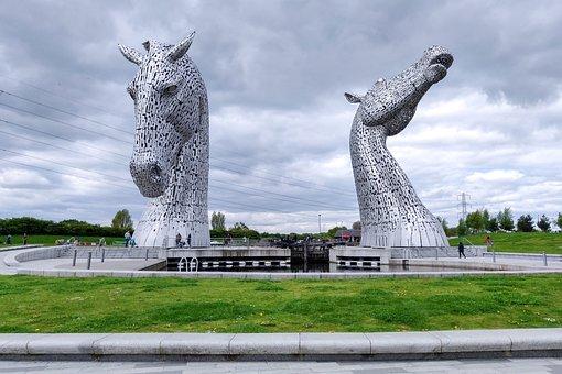 The Kelipes, Scotland, Sculpture, Falkirk, Horse, Steel