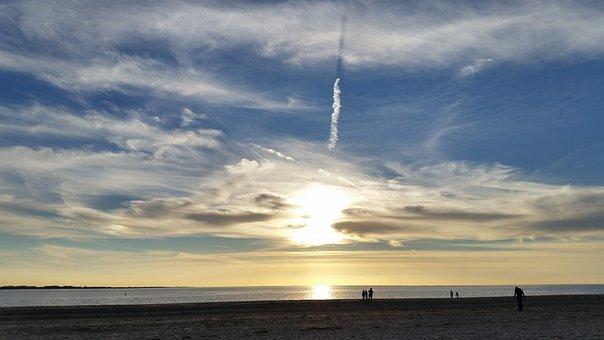 Sunset, Sea, Beach, Water, Sun, Coast