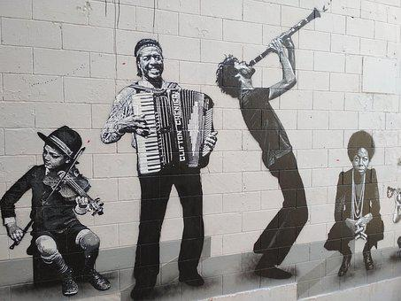 Mural, Music, Accordion, Orchestra, Musicians