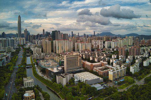 Shenzhen, China, Drone, City, Landscape, Aerial