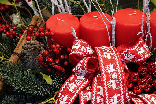 Christmas Decoration, Red Candles, Fir, Bow