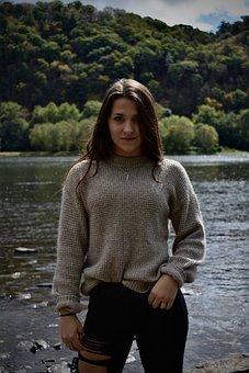 Portrait, Landscape, Girl, Woman, Fall, Happy, Model