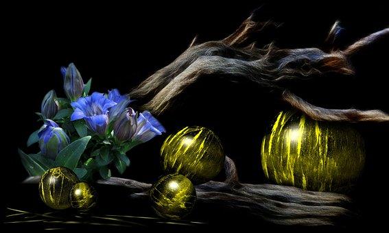 Gentian, Flowers, Blue, Balls, Light, Structures