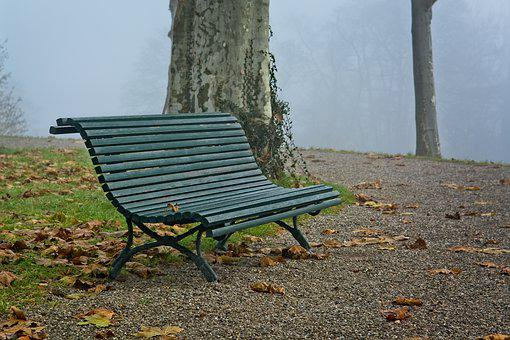 Fog, Foggy, Bench, Bank, Seat, Mood