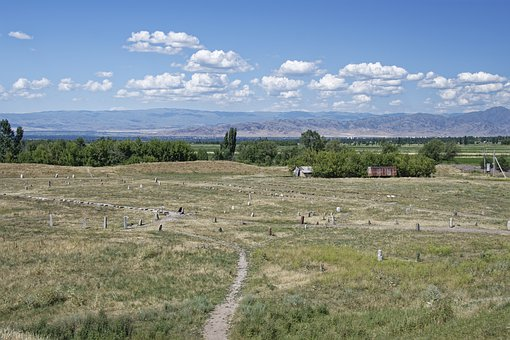 Kyrgyzstan, Graveyard Of Balbals, Burial Ground, Balbas