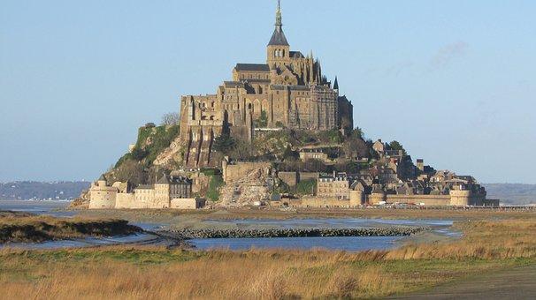 France, Normandy, Island, Panorama, Fortress, Landmark