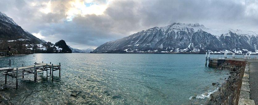 Interlaken, Switzerland, Mountains, Lake, Sky