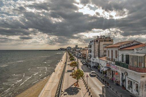 Cyprus, Larnaca, Old Town, Promenade, Sky, Clouds