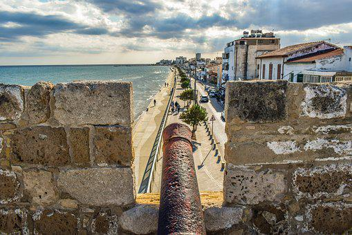 Cyprus, Larnaca, Old Town, Castle, Canon, View