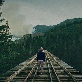 Lost Man, Man, Lost, Railway, Alone, Male, Person